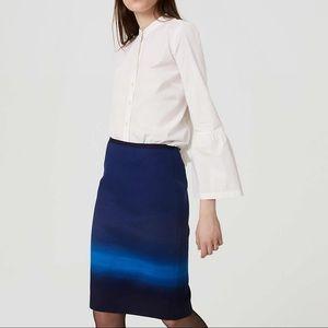 LOFT Blue Falls Ombré midi skirt size 2